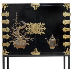 Large 17th Century Japanese Lacquer Cabinet on Modern Powder-Coated Stand