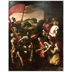 Large 17th Century Painting, Scene Just before the Crucifixion of Jesus