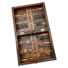 Large 17th Century Rosewood and Walnut Game Box for Chess, Backgammon, Checkers
