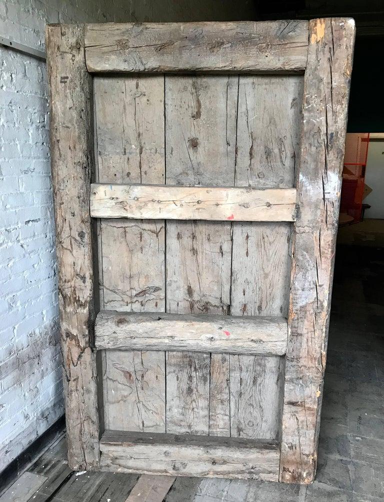 Large 17th Century Spanish Chestnut Wood Door With Iron