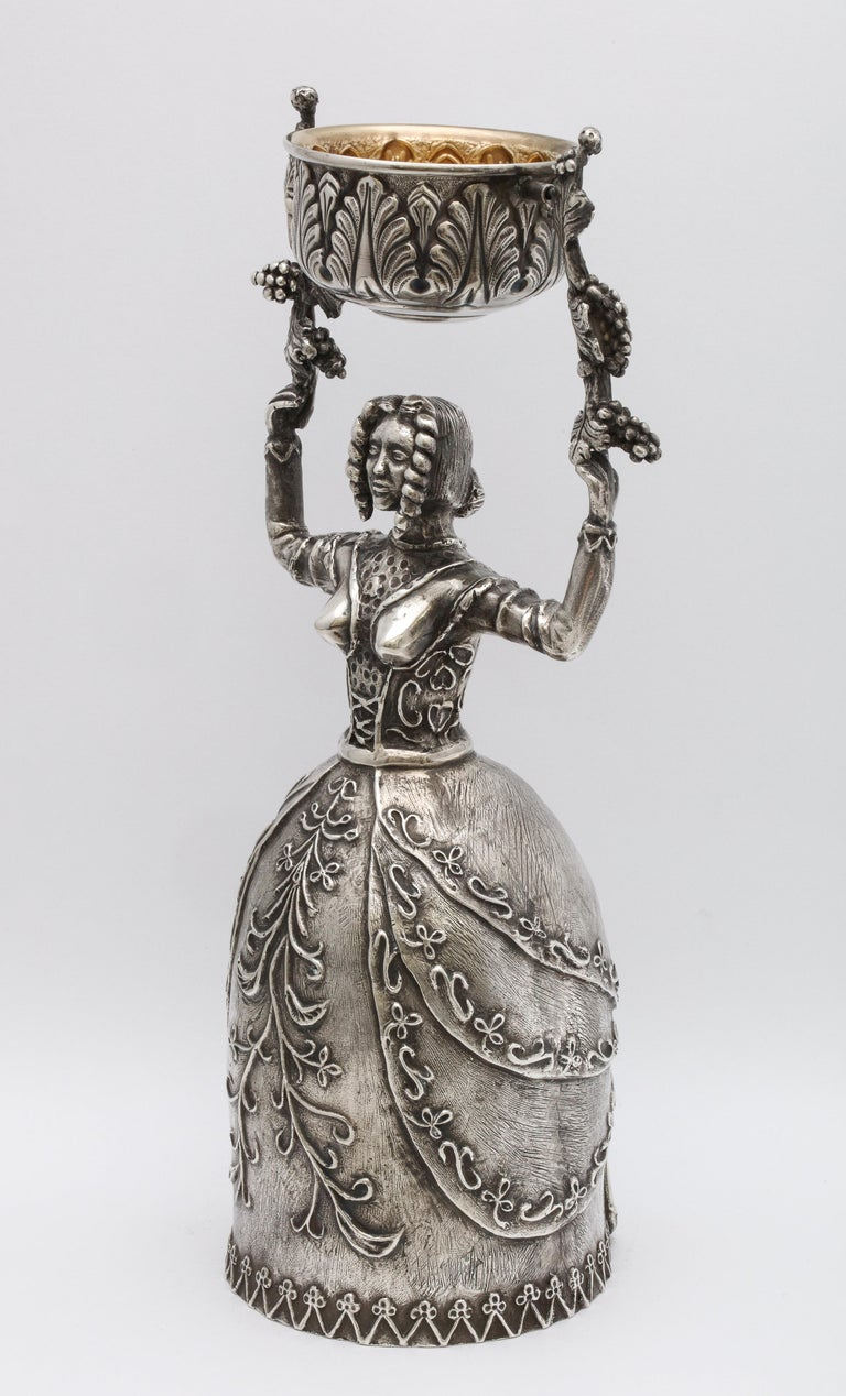 Large 17th Century-Style Sterling Silver Wager/Marriage Cup 6