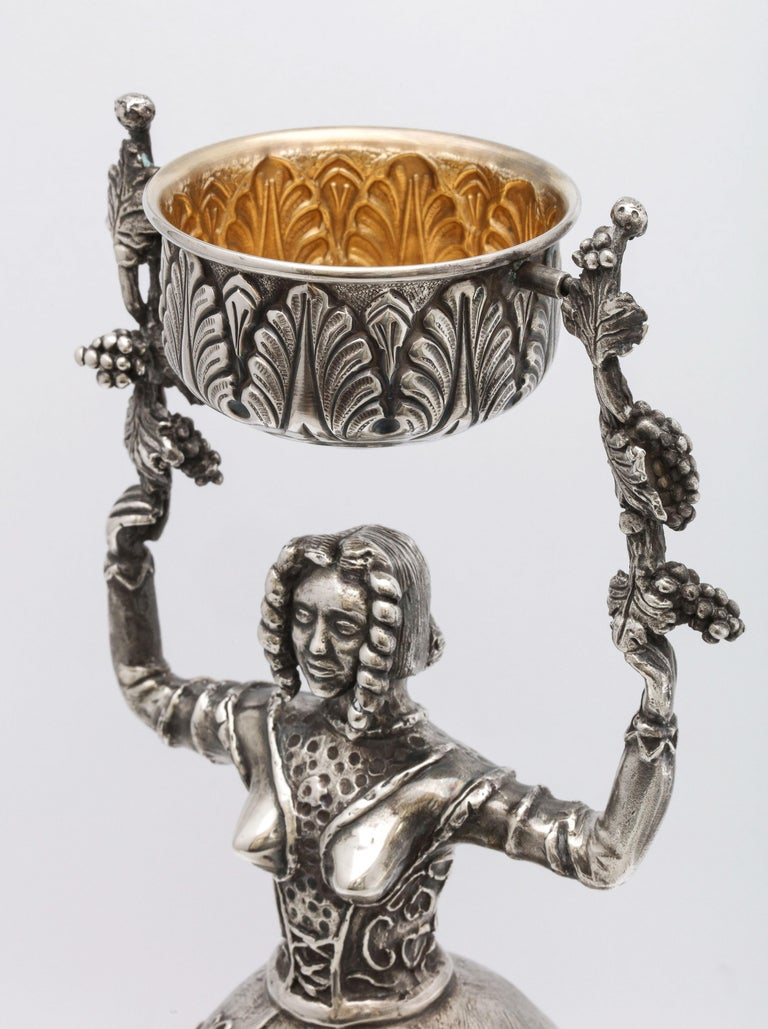 Large 17th Century-Style Sterling Silver Wager/Marriage Cup 7