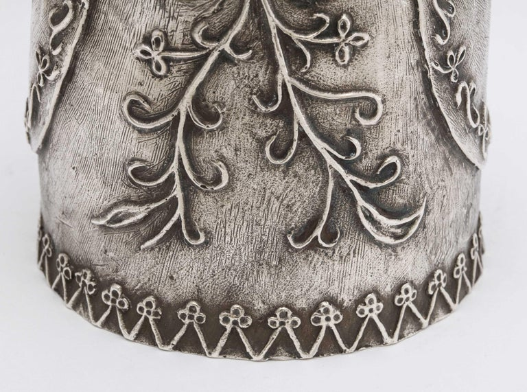 Large 17th Century-Style Sterling Silver Wager/Marriage Cup 9