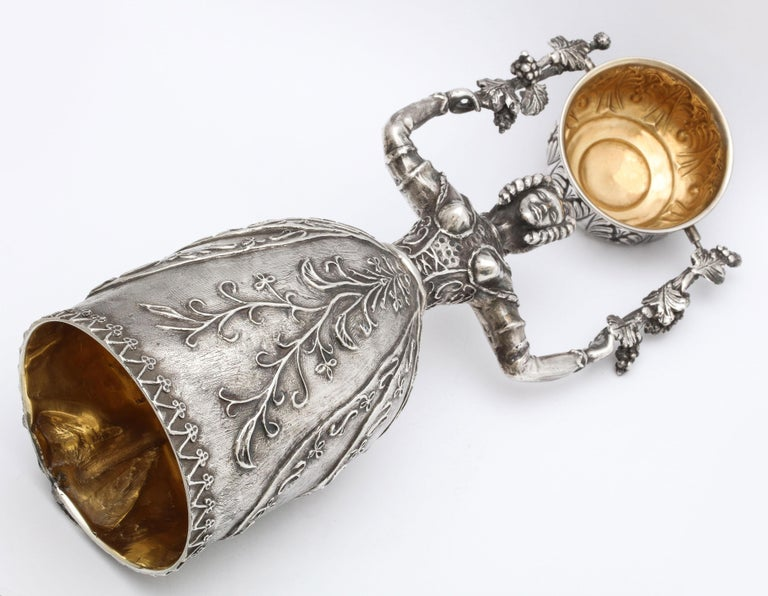 Large 17th Century-Style Sterling Silver Wager/Marriage Cup 10