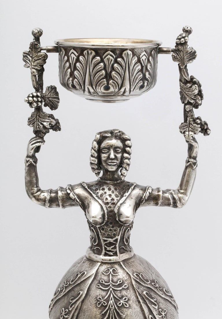 Renaissance Large 17th Century-Style Sterling Silver Wager/Marriage Cup