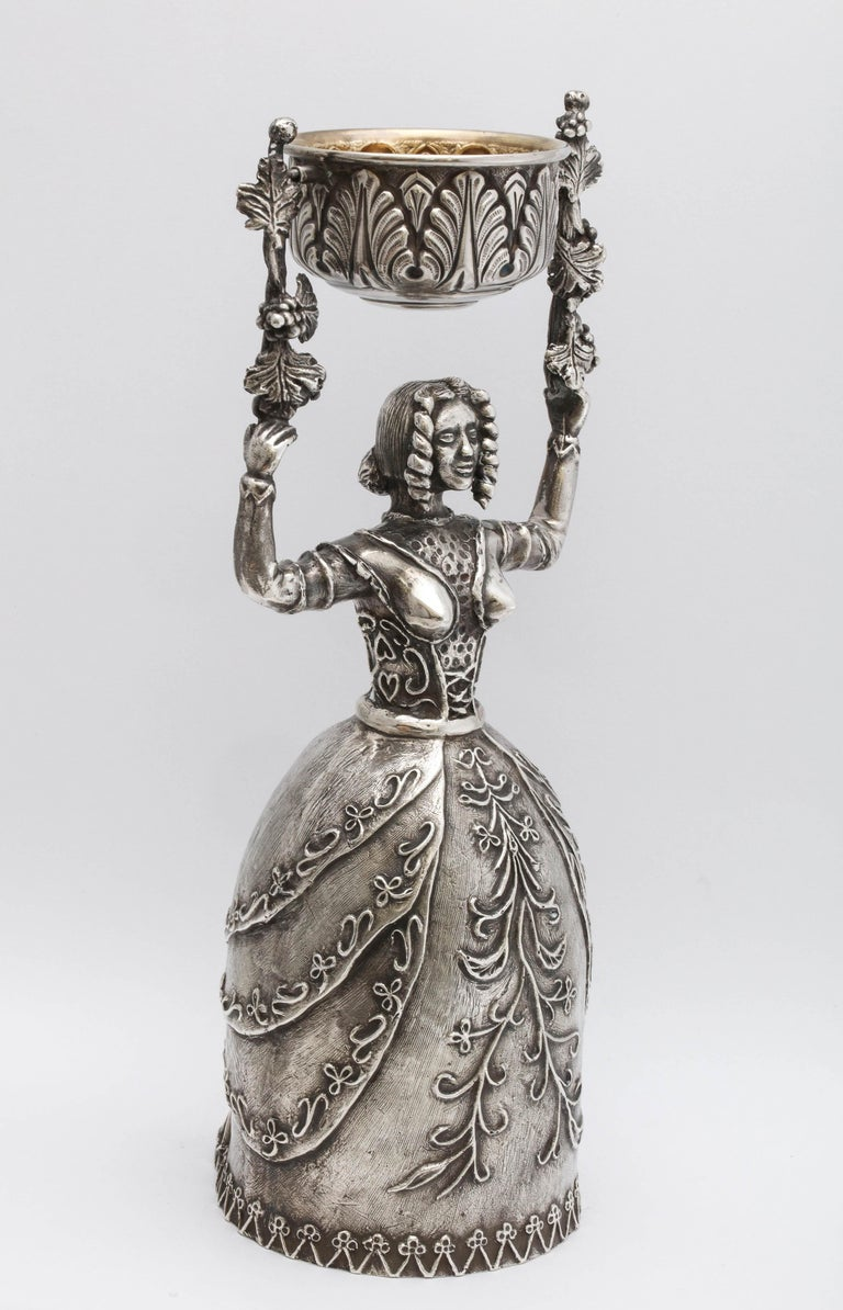 Large 17th Century-Style Sterling Silver Wager/Marriage Cup In Good Condition In New York, NY