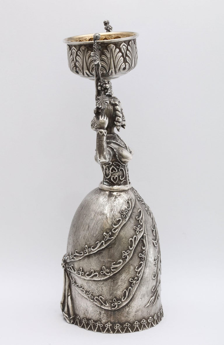Mid-20th Century Large 17th Century-Style Sterling Silver Wager/Marriage Cup