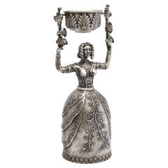 Large 17th Century-Style Sterling Silver Wager/Marriage Cup