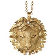 Large 18 Carat Gold Leo Pendant with Diamonds