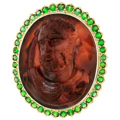 Large 18 Karat Gold Carved Agate Male Cameo Brooch Pendant with Tsavorite Halo