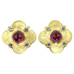 Large 18 Karat Rubellite Tourmaline and Iolite Clover Earrings