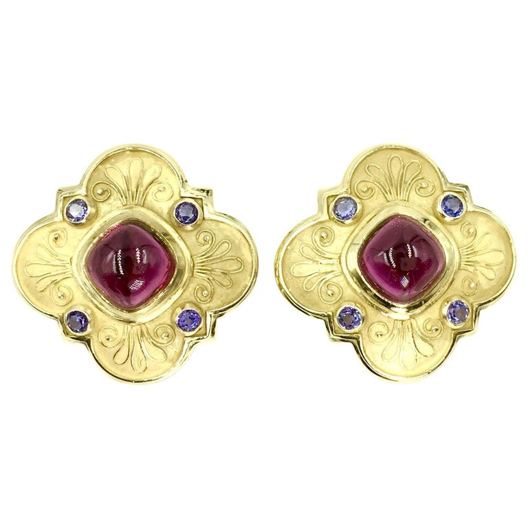 Large 18 Karat Rubellite Tourmaline and Iolite Clover Earrings For Sale
