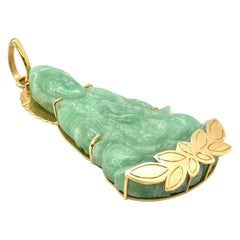 Large 18 Karat Yellow Gold and Carved Green Jade Buddha Pendant 52.05 Grams