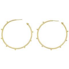 Large 18 Karat Yellow Gold Granulated Hoop Earrings