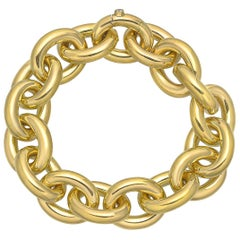 Large 18 Karat Yellow Gold Rolo Link Bracelet
