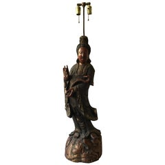 Large 1880s Carved Wood Asian Figural Table Lamp