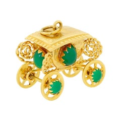 Large 18k 750 Gold Royal Coach Carriage Pendant or Accent Charm for Bracelet