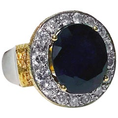 Large 18 Karat Diamond and Blue Stone Ring