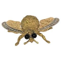 Large 18k Diamond Bee Brooch