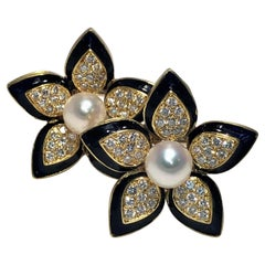 Large 18k Floral Earrings with Cultured Pearl, Diamonds and Deep Blue Enamel
