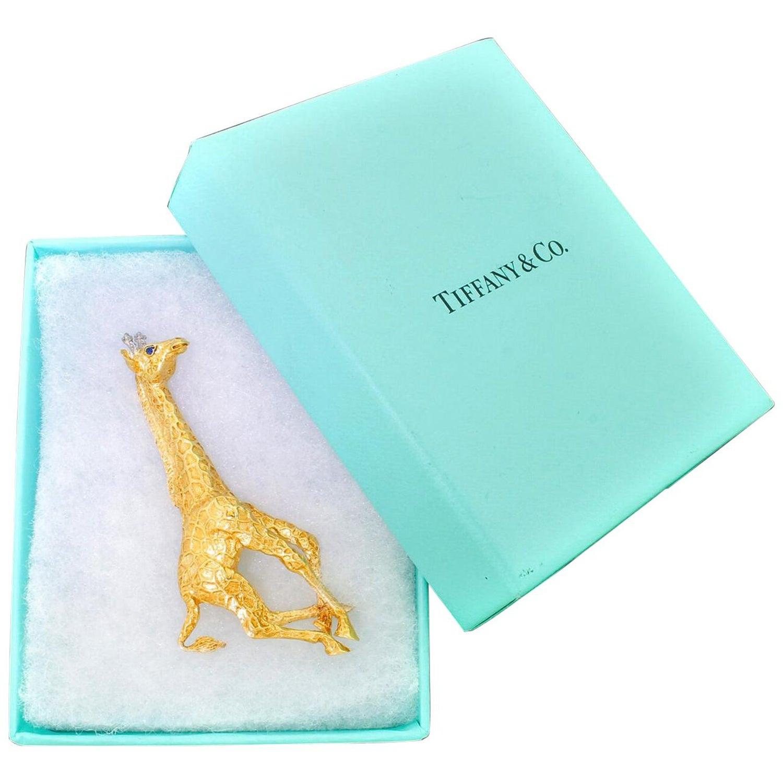 a1bbd35d745fe Large 18K Gold Diamond Tiffany & Co. Galloping Giraffe Pin Brooch Fine  Detail