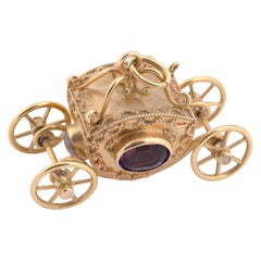 Large 18 Karat Gold Royal Coach Carriage Pendant or Accent Charm for Bracelet