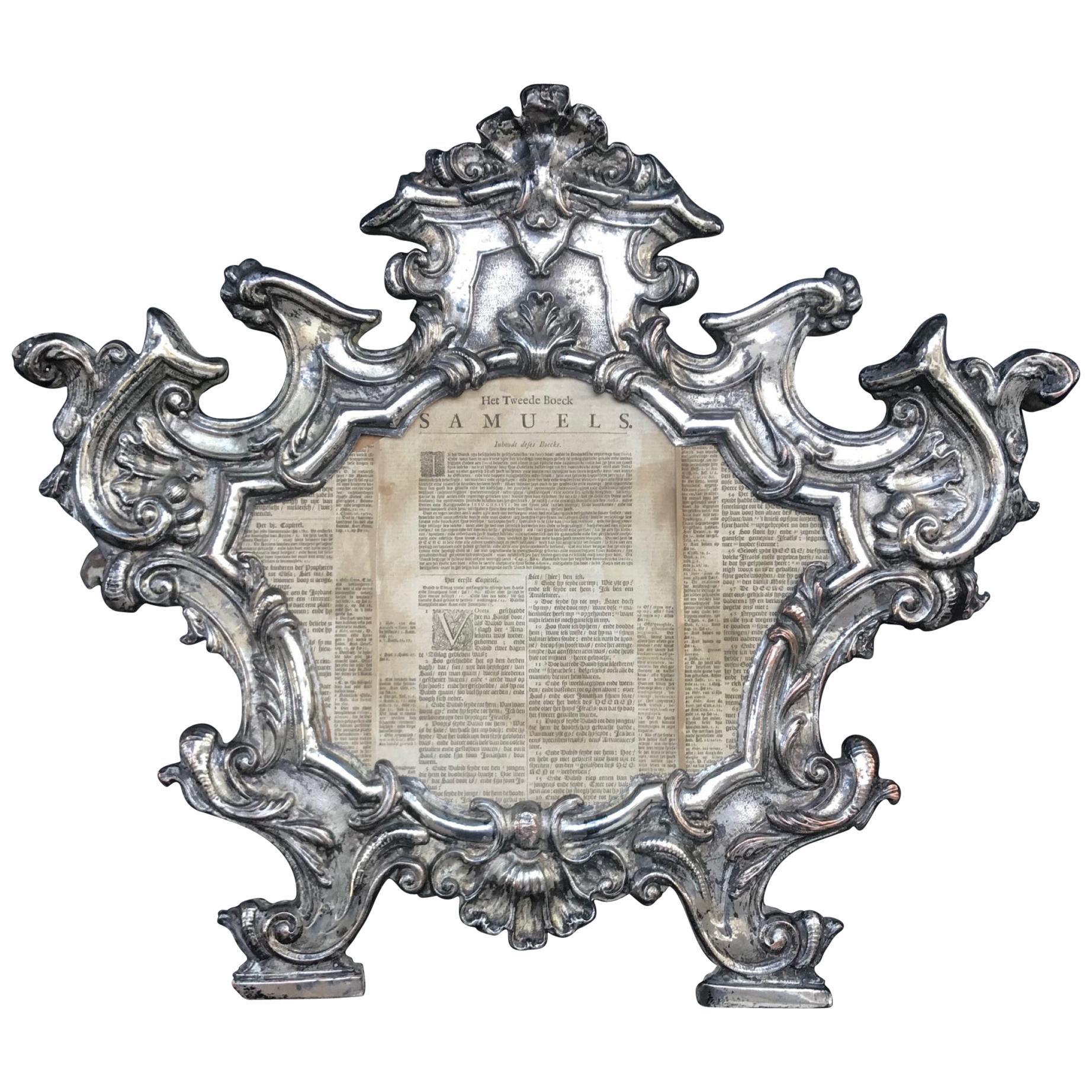 Large 18th Century Repousse Baroque Ecclesiastical Carta Gloria, Venetian