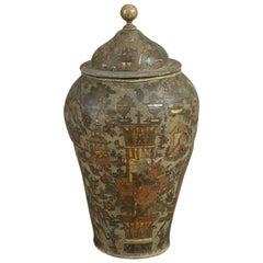 Large 18th Century Arte Povera Ceramic Vase and Cover