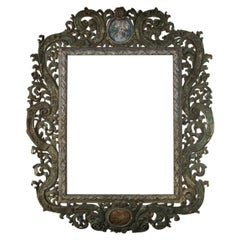 Very Large 18thC Austrian Baroque Carved Wood Frame signed  dated with portrait