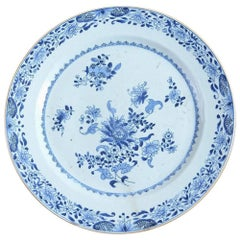 Large 18th Century Blue and White Qianlong Period Porcelain Charger Floral Plate