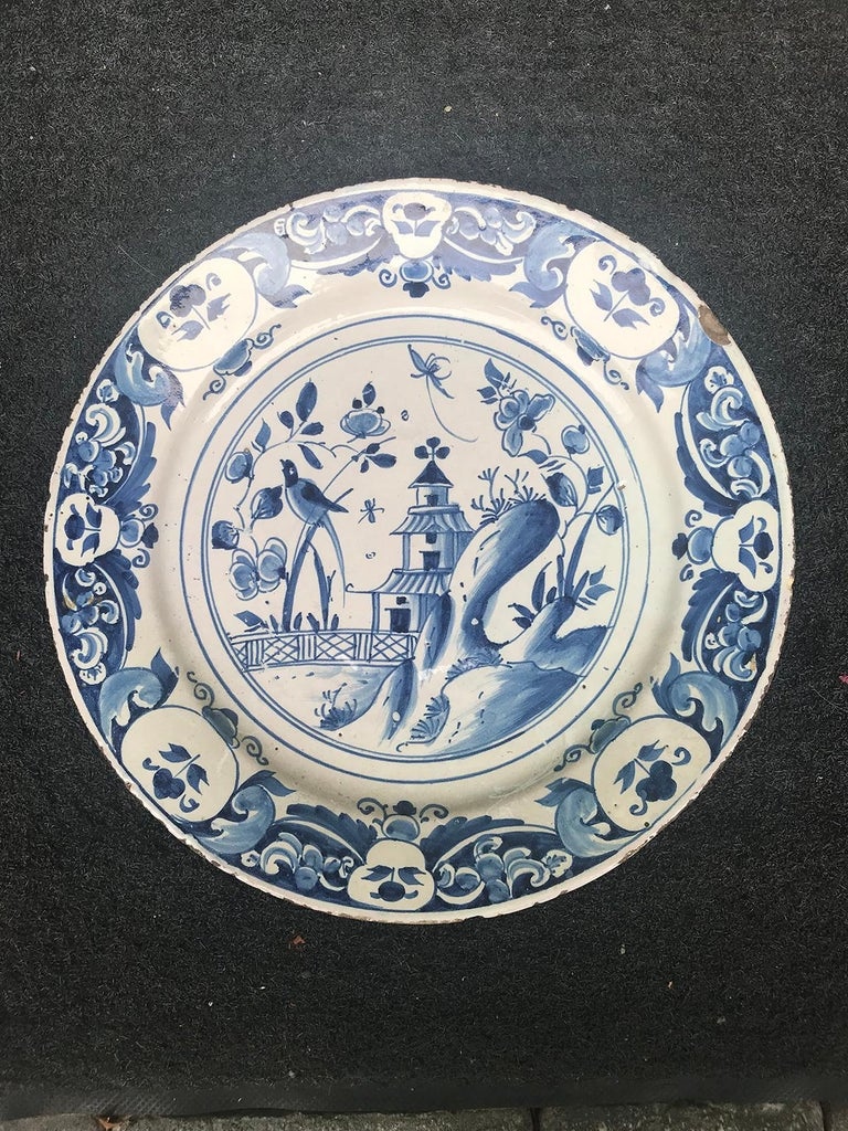 Large 18th century blue and white porcelain charger.