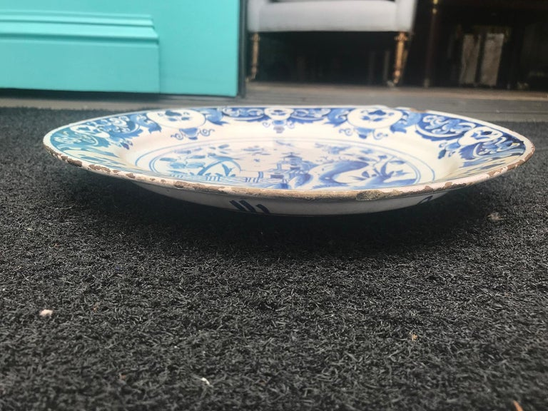 Large 18th Century Blue and White Porcelain Charger 2
