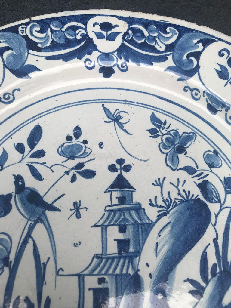 Large 18th Century Blue and White Porcelain Charger 3
