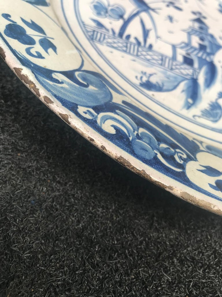 Large 18th Century Blue and White Porcelain Charger 4