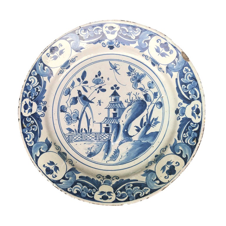 Large 18th Century Blue and White Porcelain Charger