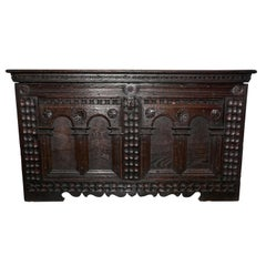 Large 18th Century Carved Oak Cassone, Marriage Chest or Carved Coffer