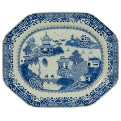 Large 18th Century Chinese Blue and White Platter Qianlong Made, circa 1775