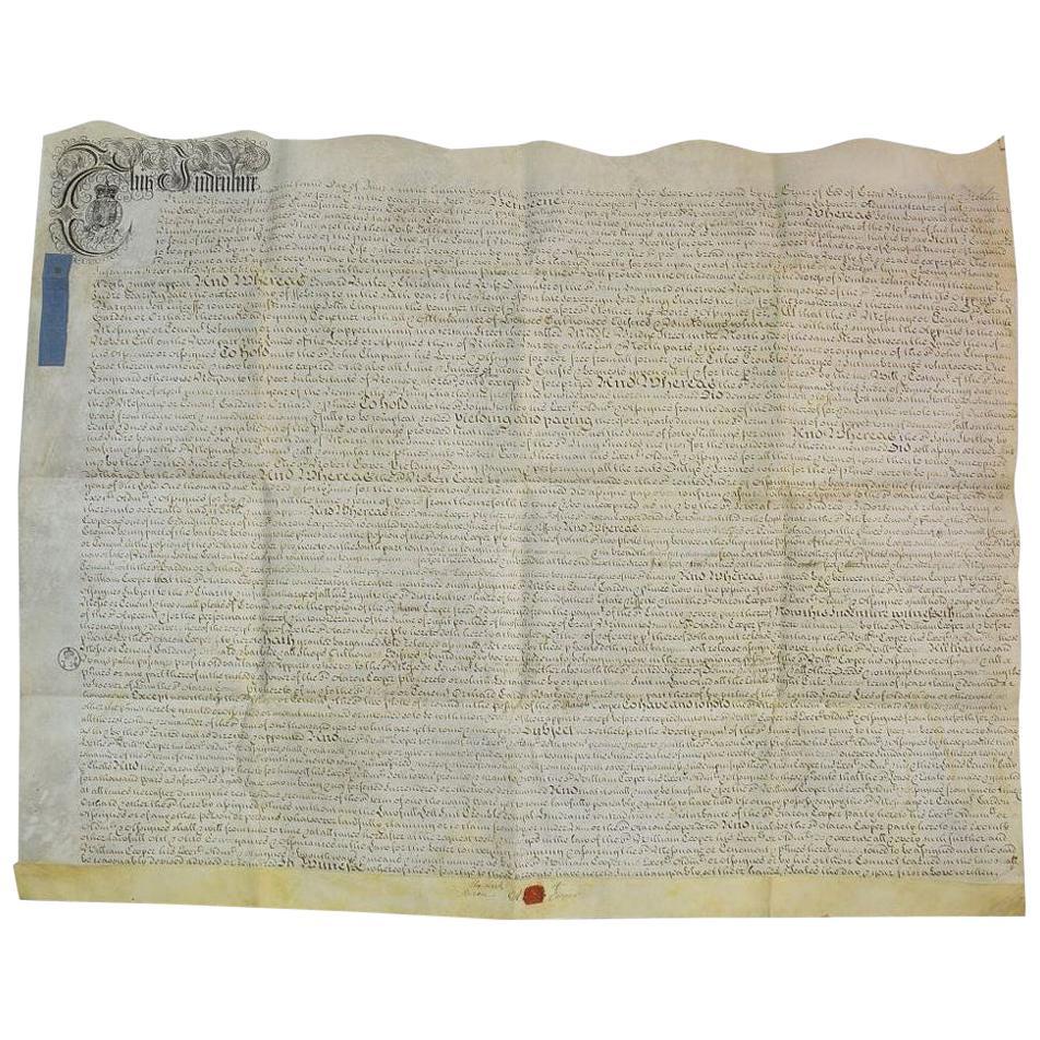 Large 18th Century English Vellum Handwriting / Document