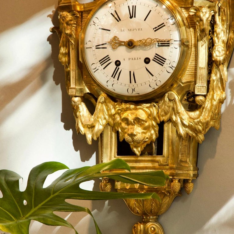 Large 18th Century French Bronze Louis XVI Lion Mask Wall Clock Signed Le Nepveu For Sale 10