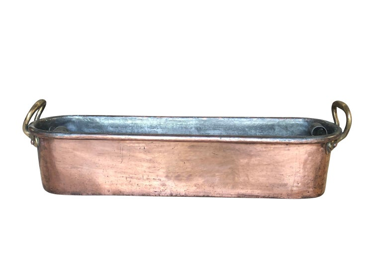 18th Century and Earlier Large 18th Century French Copper Fish Pan For Sale