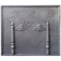Large 18th Century French Fireback 'Pillars with Medieval IHS Monograms'