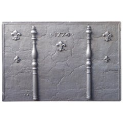 Large 18th Century French Fireback with Pillars and Fleur de Lys