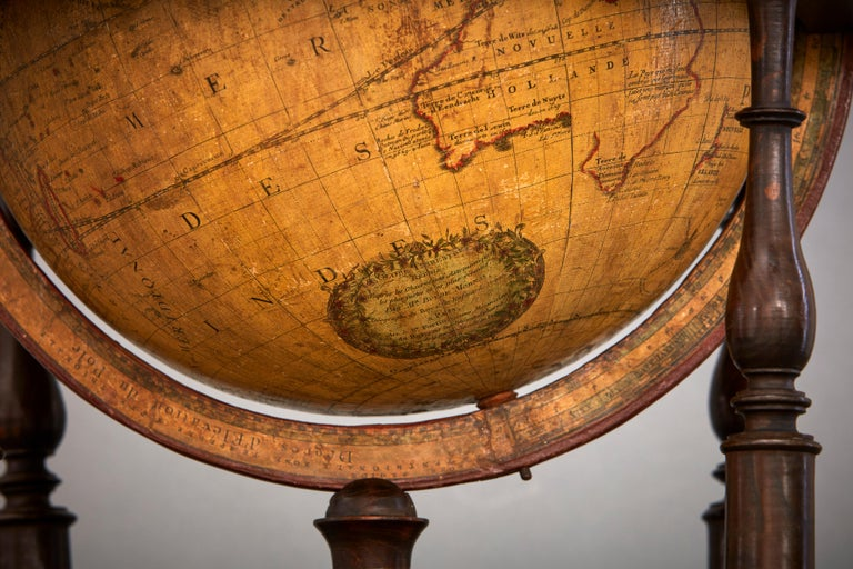 A very rare and unusually large Louis XVI terrestrial globe by the royal French globemaker Jean-Baptiste Fortin (1740-1817). He had a shop in Paris, in the Rue de la Harpe and made globes of various sizes and published geographical works.  This