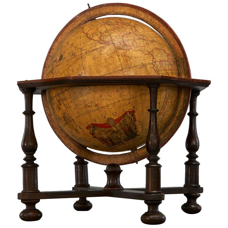 Large 18th Century French Library Terrestrial Globe by Jean Fortin, Paris, 1780 For Sale