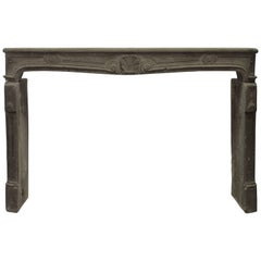 Large 18th Century French Louis XV Fireplace Mantel in Lava Stone