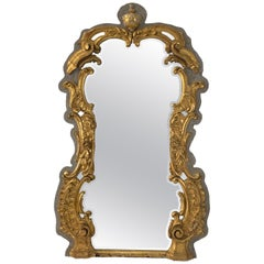 Large 18th Century French Rococo Giltwood Mirror Applied to Gray Painted Wood