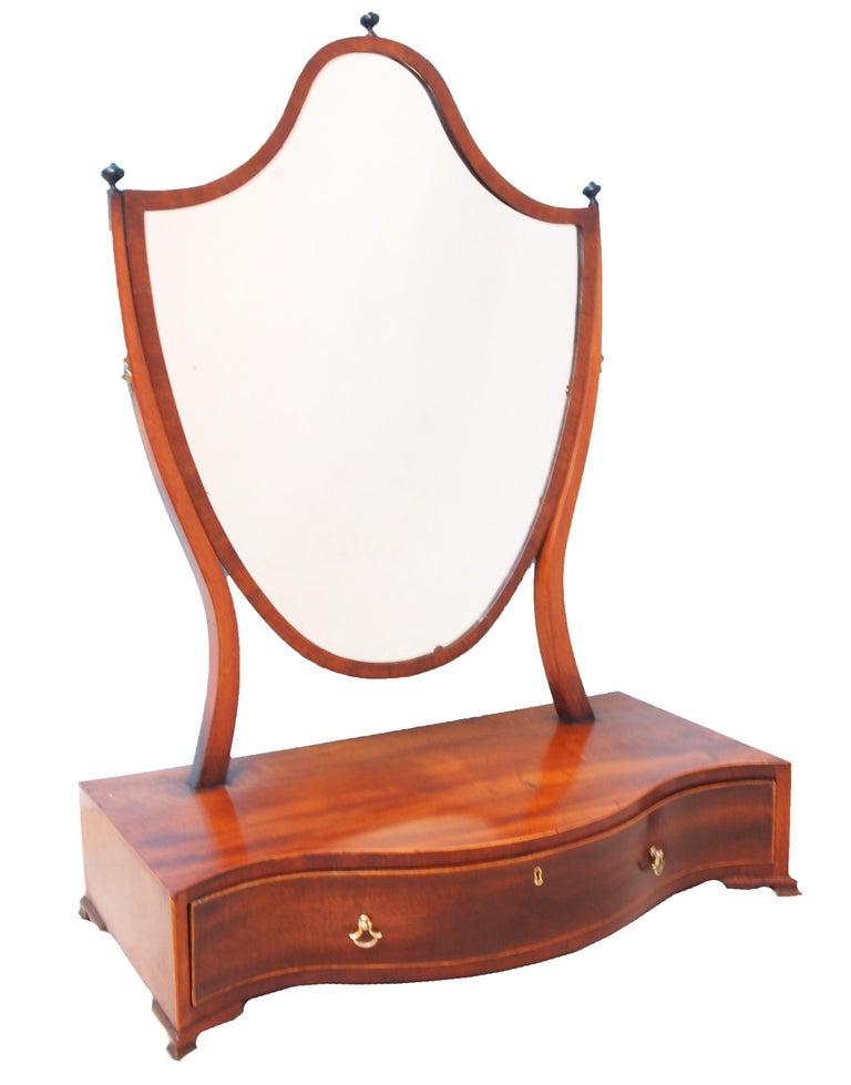 European Large 18th Century Georgian Mahogany Dressing Table Mirror For Sale