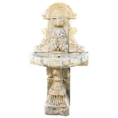 Large 18th Century Hand Carved Stone Wall Fountain and basin on pedestal base LA
