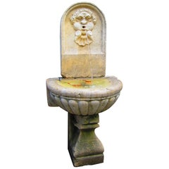 Large 18th C. Hand Carved Stone Wall Fountain & Basin trough on Pedestal Base LA