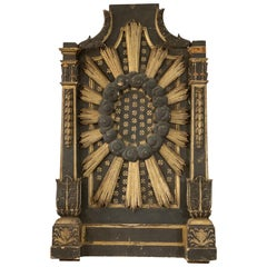 Large 18th Century Italian Black and Gold Altar Piece with Sunburst